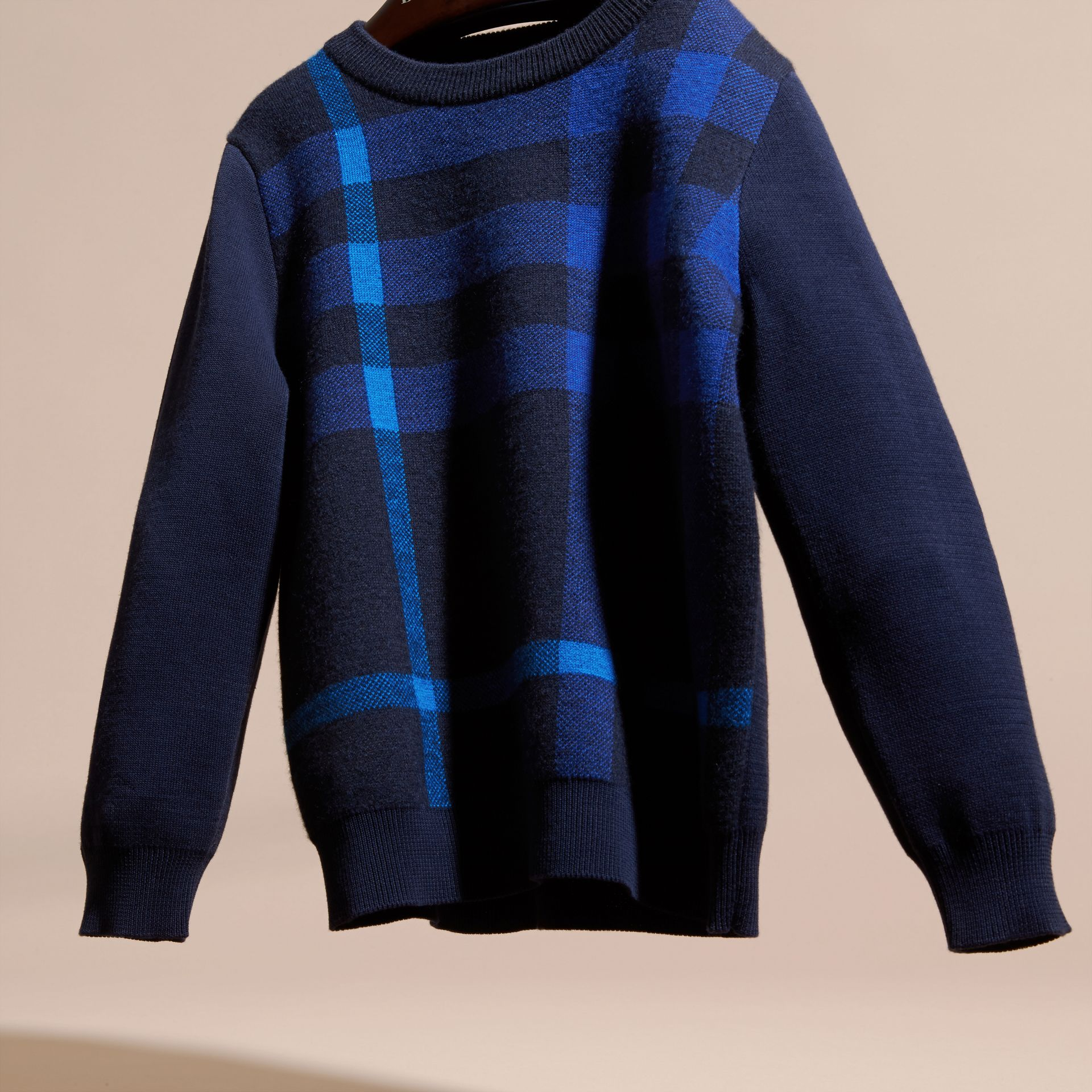 Navy Check Wool Cashmere Blend Sweater - gallery image 3
