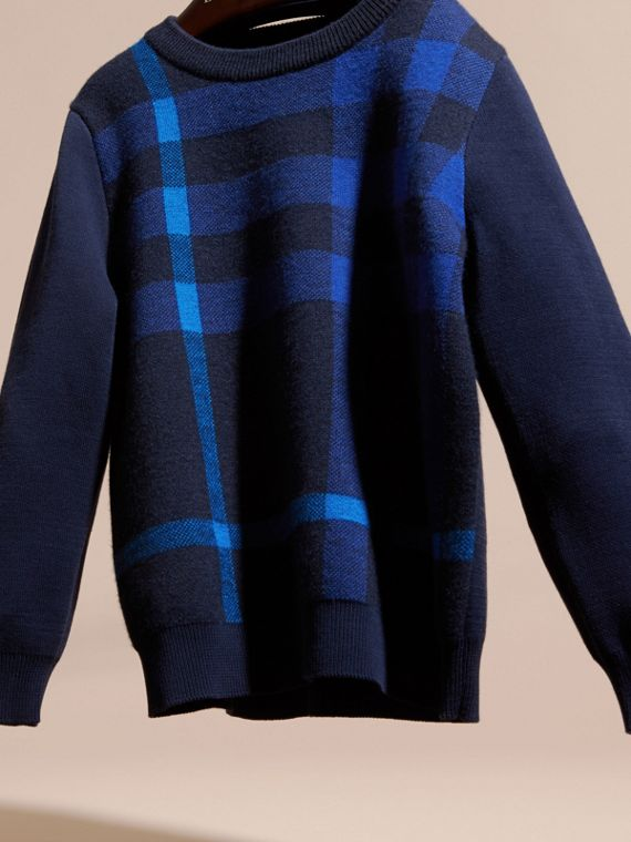Navy Check Wool Cashmere Blend Sweater - cell image 2
