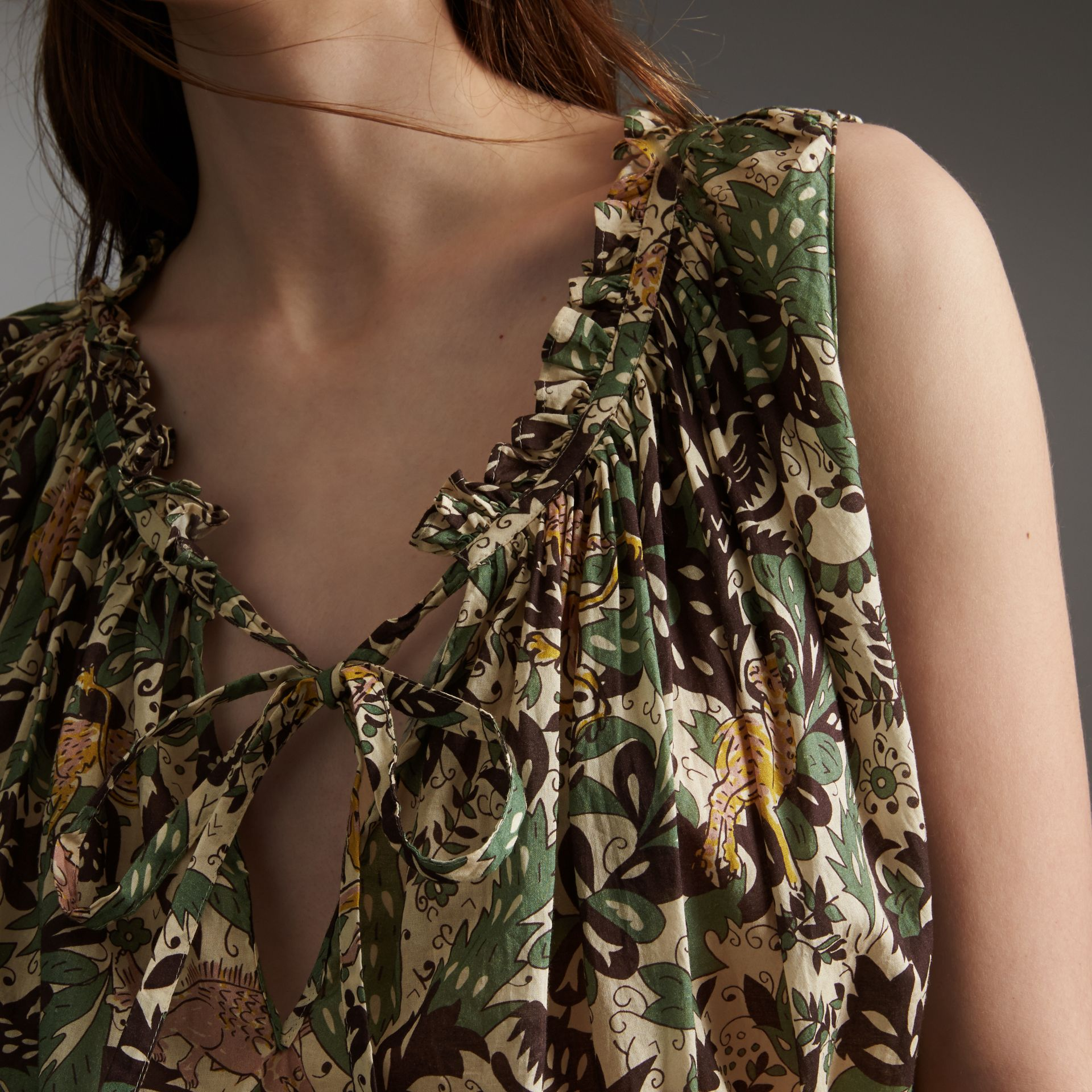 Sleeveless Beasts Print Lightweight Cotton Top - Women | Burberry Australia - gallery image 2