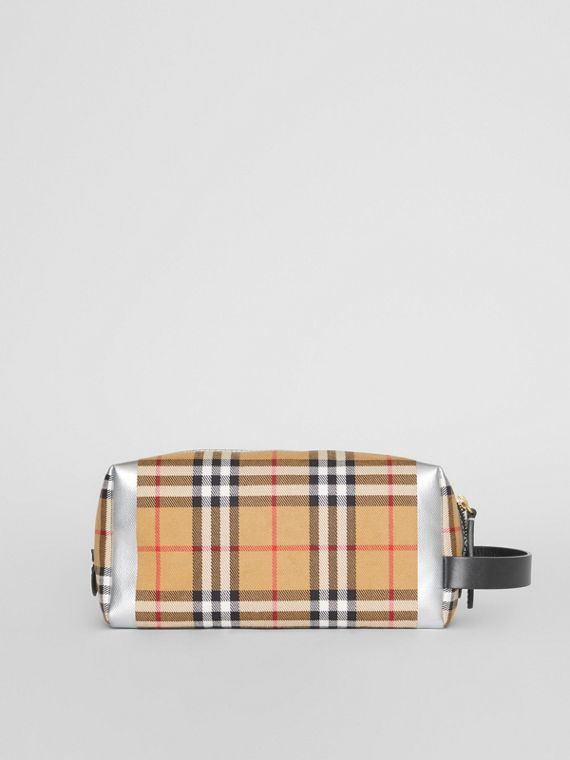 Metallic Detail Vintage Check Pouch in Black/silver