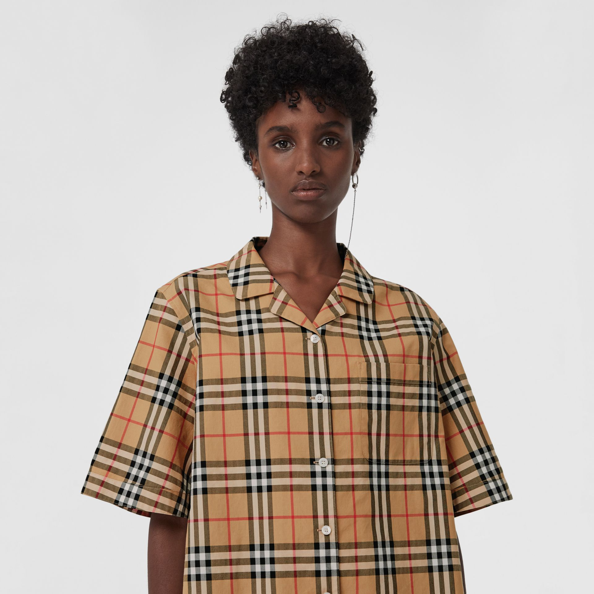 Short-sleeve Vintage Check Shirt in Antique Yellow - Women | Burberry Canada - gallery image 1