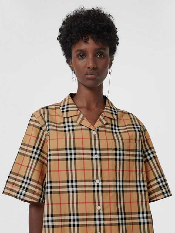 Short-sleeve Vintage Check Shirt in Antique Yellow - Women | Burberry Canada - cell image 1