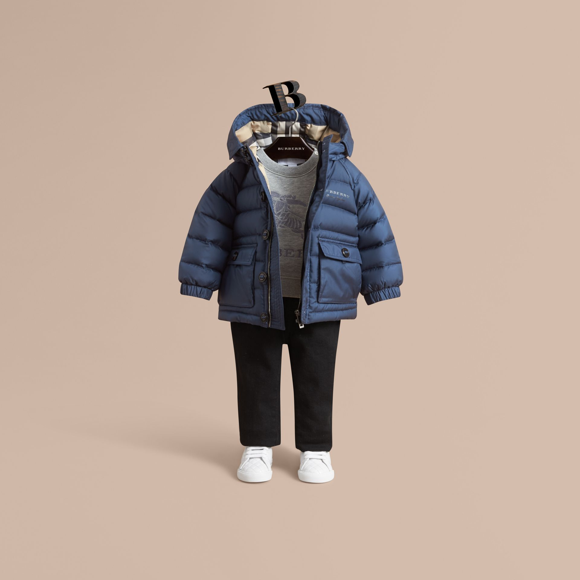 Shower-resistant Hooded Puffer Jacket in Ink Blue | Burberry Australia - gallery image 1