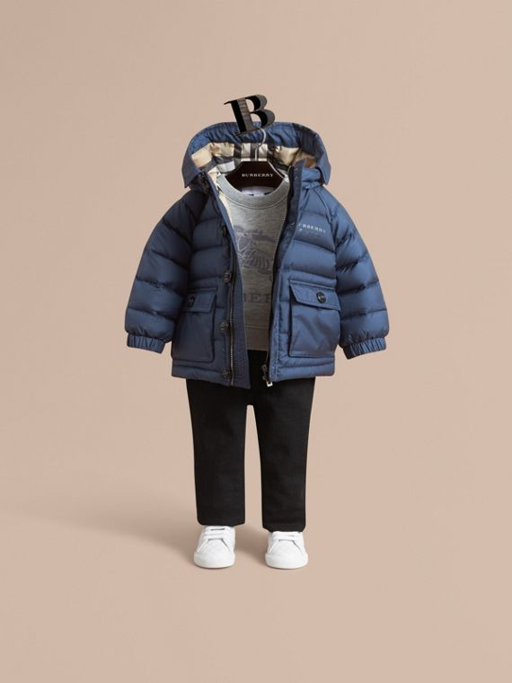 Shower-resistant Hooded Puffer Jacket in Ink Blue | Burberry Singapore