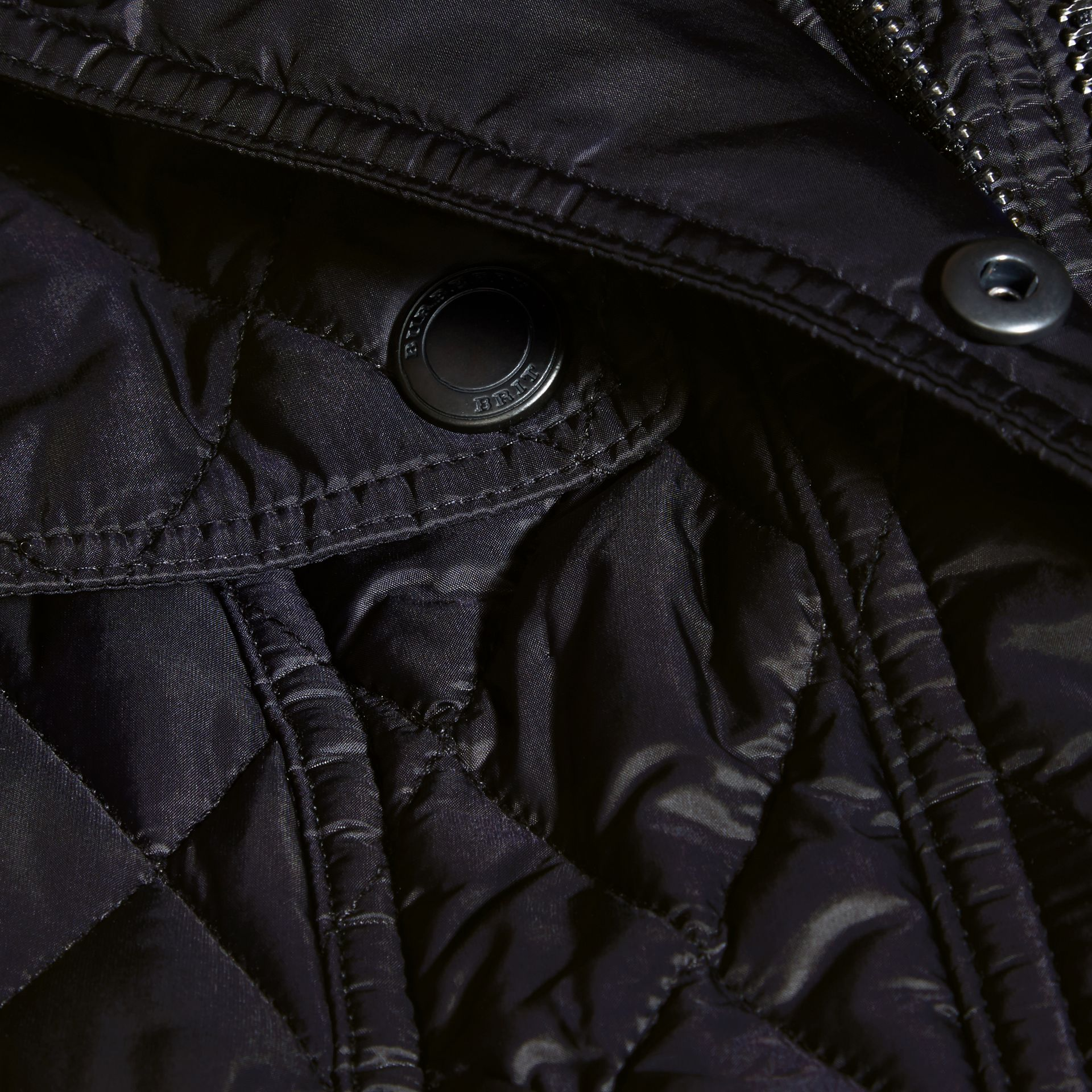 Quilted Trench Jacket with Detachable Hood in Ink - gallery image 2