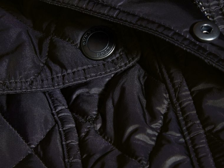 Quilted Trench Jacket with Detachable Hood in Ink - cell image 1