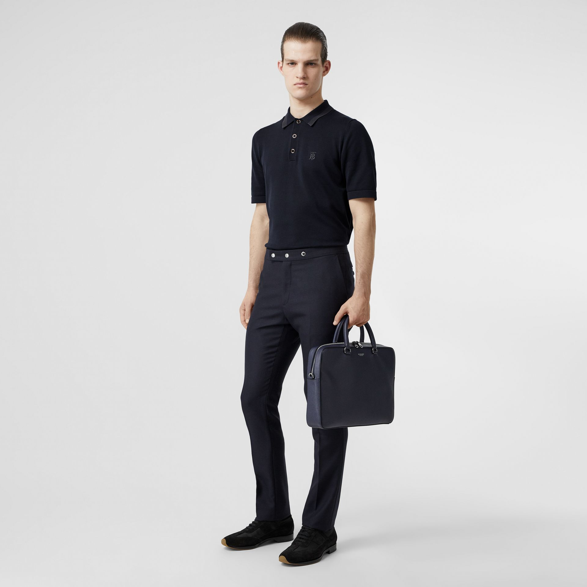 Monogram Motif Cotton Polo Shirt in Navy - Men | Burberry United Kingdom - gallery image 0