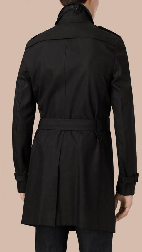 Black Cotton Gabardine Trench Coat - Image 4
