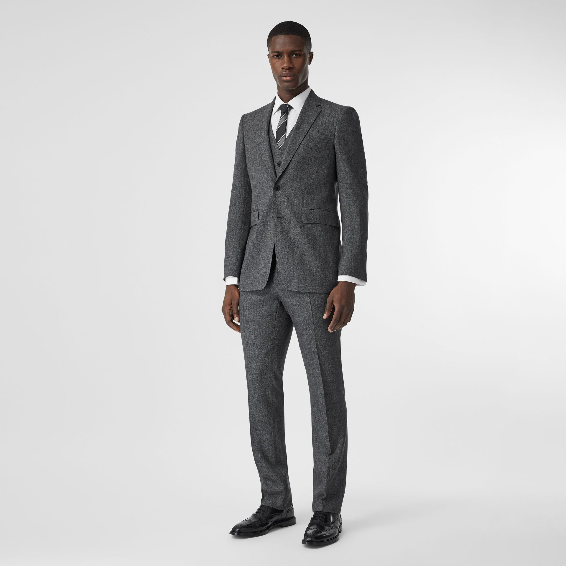 Classic Fit Melange Wool Three-piece Suit in Charcoal - Men | Burberry - gallery image 0