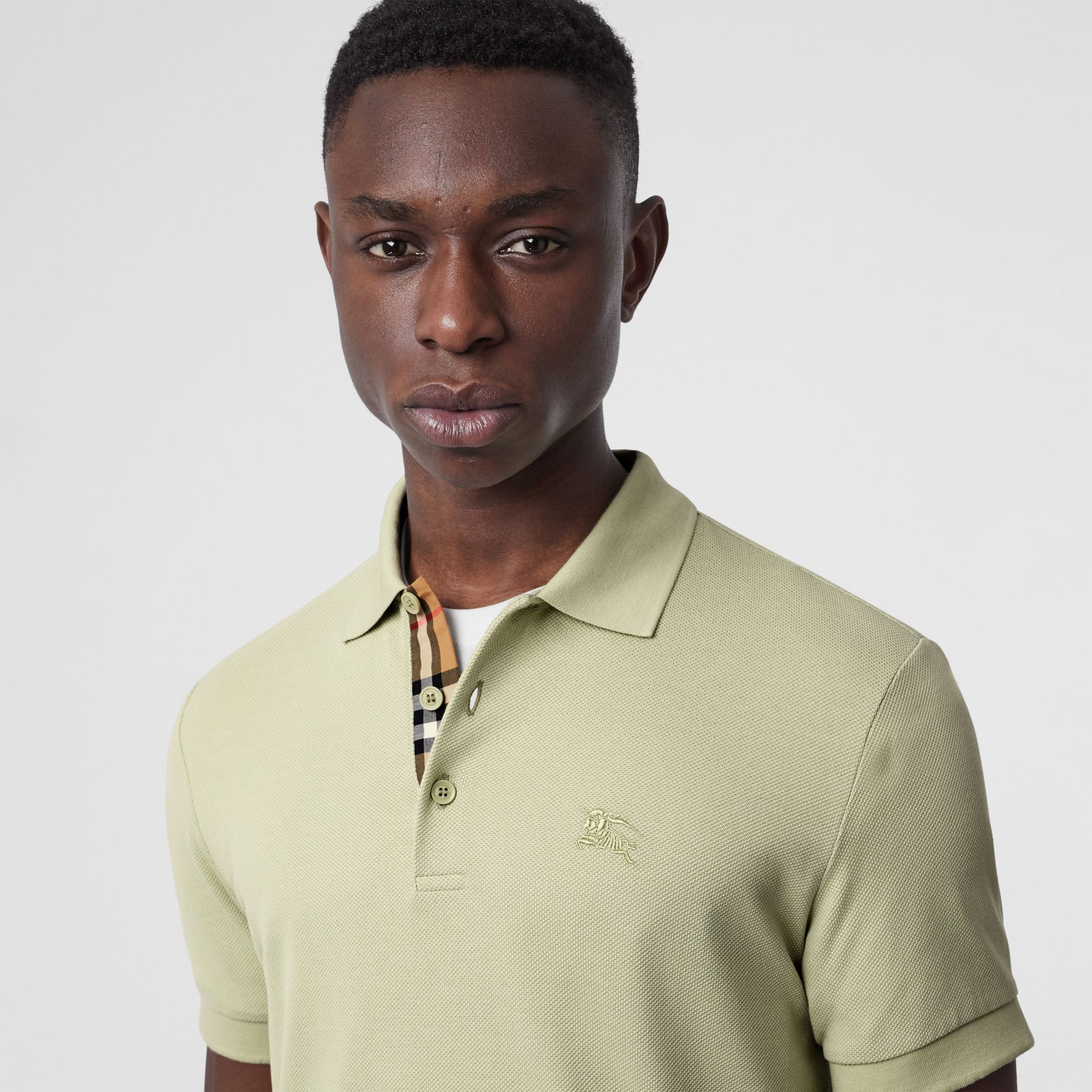 Check Placket Cotton Polo Shirt in Pale Apple Green - Men | Burberry - gallery image 1