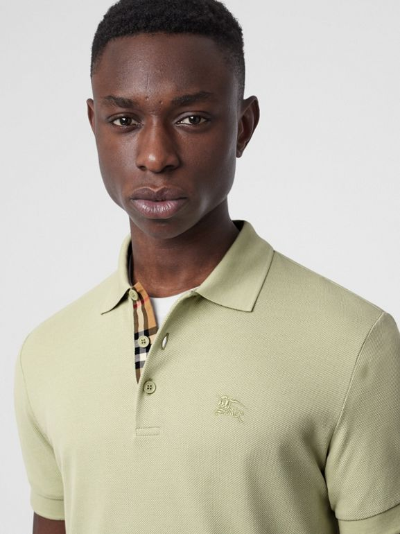 Check Placket Cotton Polo Shirt in Pale Apple Green - Men | Burberry Australia - cell image 1