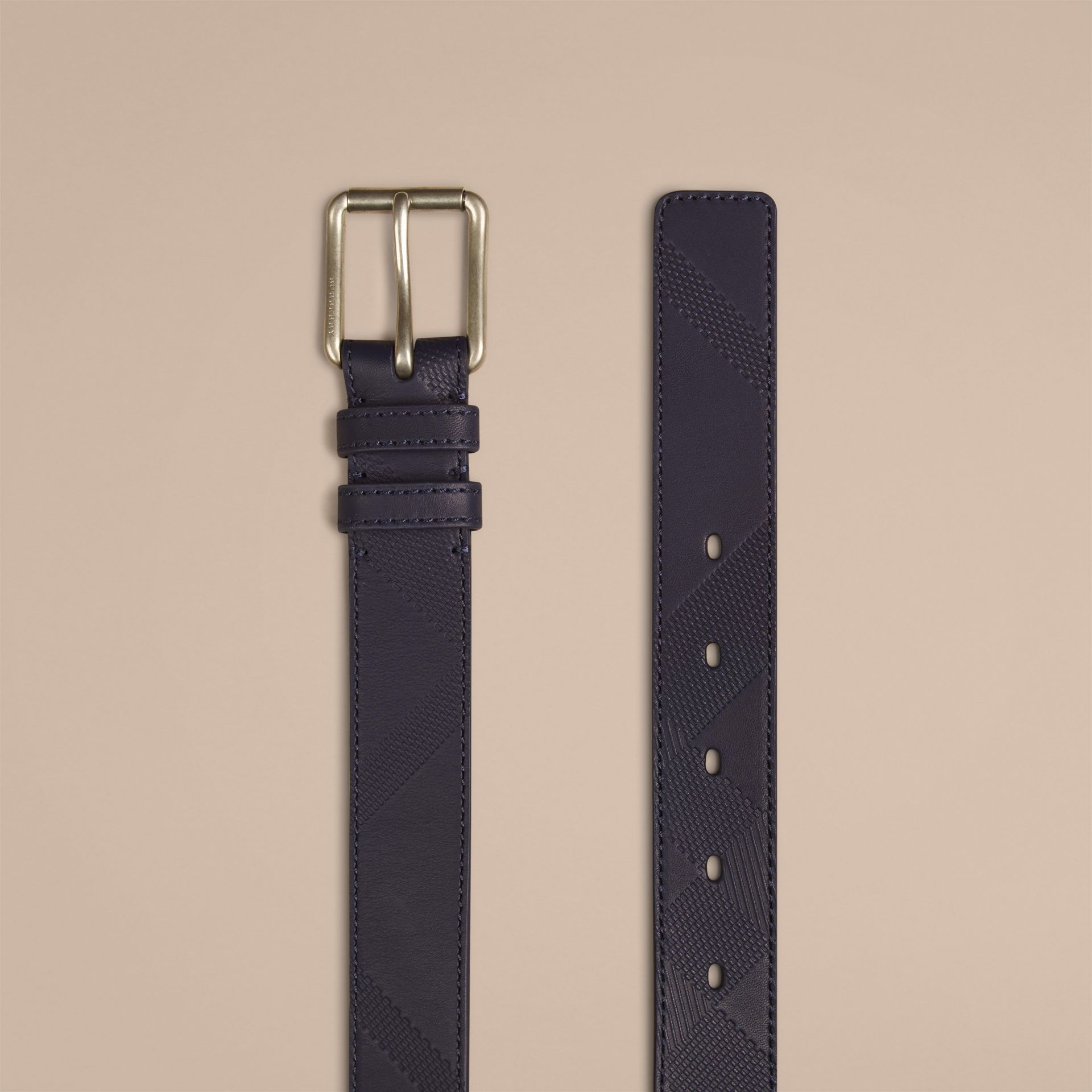 Bright navy Check-Embossed Leather Belt - gallery image 2
