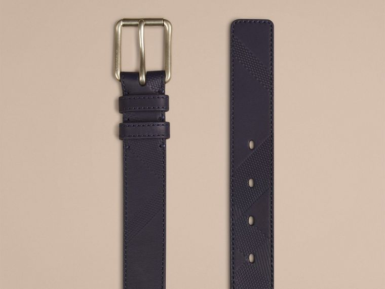Bright navy Check-Embossed Leather Belt - cell image 1
