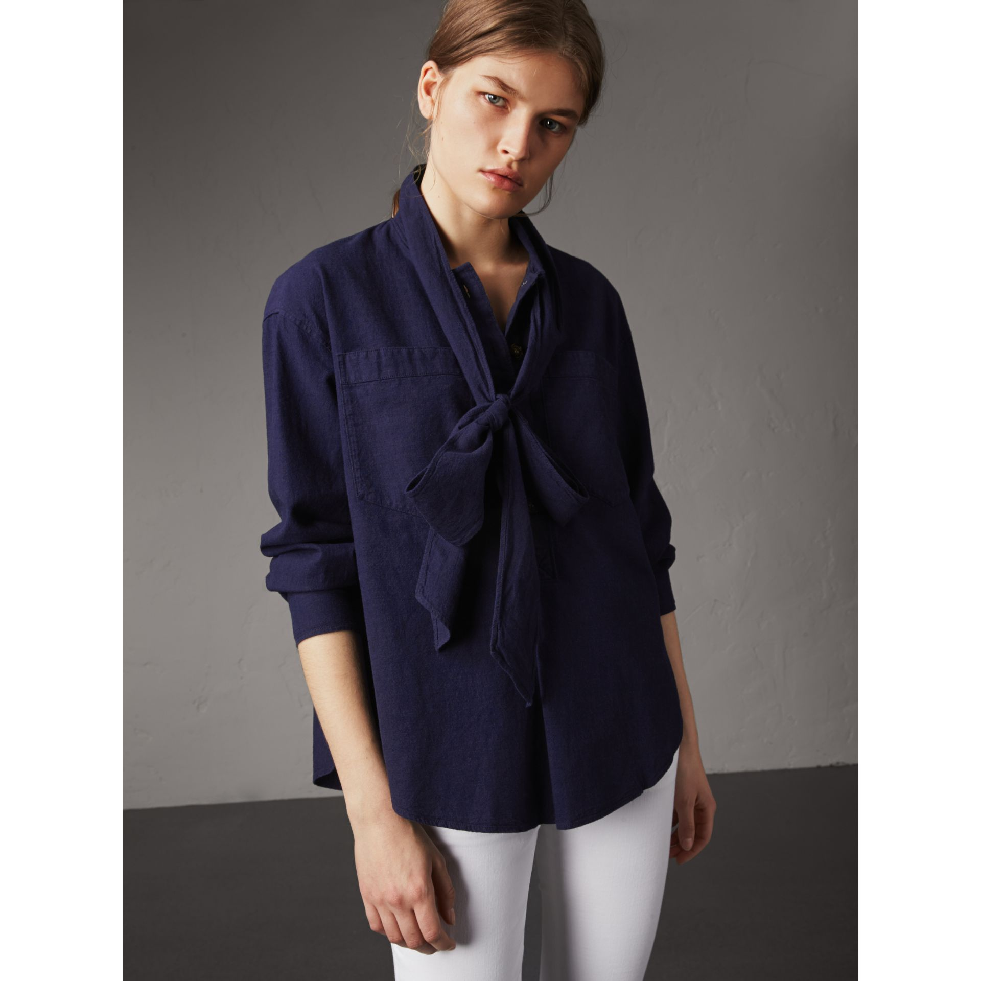 Neck Tie Cotton Chambray Shirt in Dark Indigo - Women | Burberry - gallery image 1