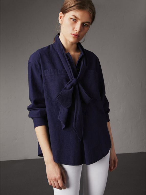 Neck Tie Cotton Chambray Shirt