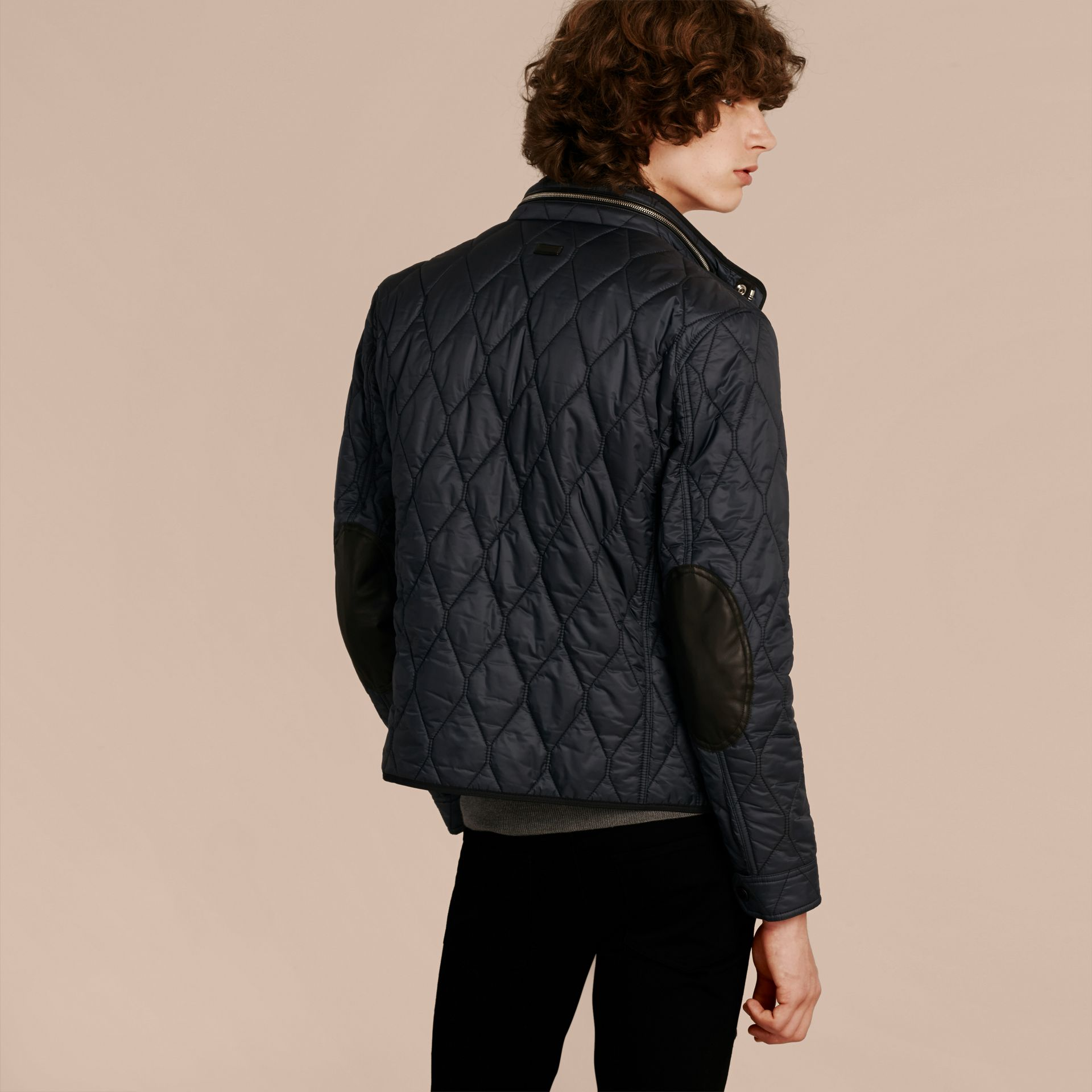 Navy Stand Collar Military Quilted Jacket - gallery image 3