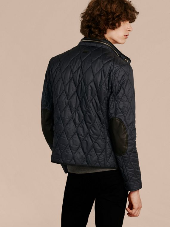 Navy Stand Collar Military Quilted Jacket - cell image 2