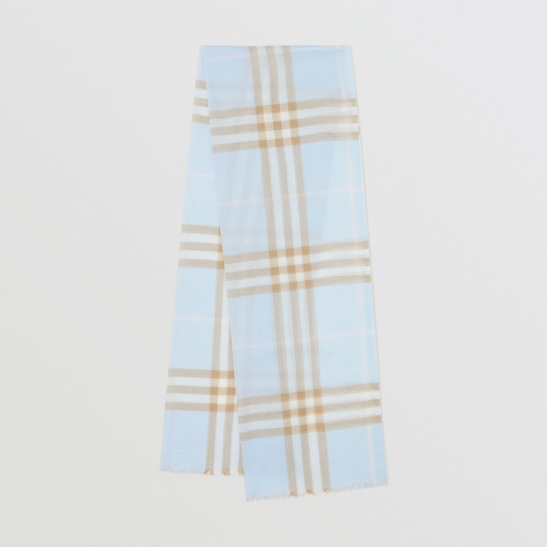 Lightweight Check Wool Silk Scarf in Pale Blue | Burberry - gallery image 0
