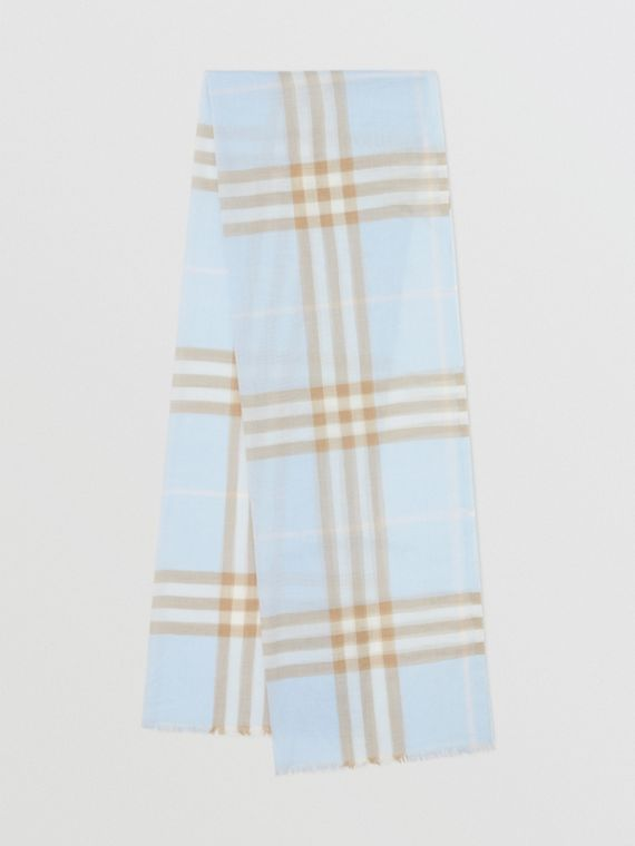 Lightweight Check Wool Silk Scarf in Pale Blue