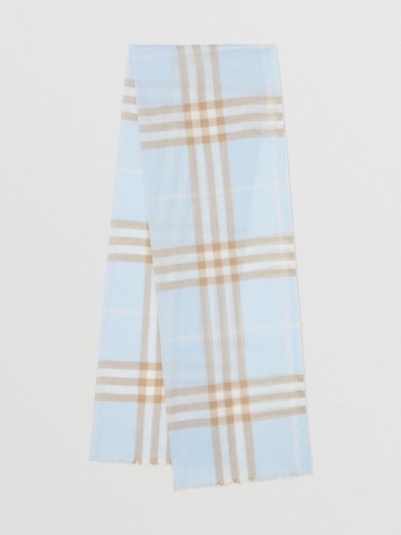 Echarpe de lã e seda com estampa xadrez (Azul Claro)