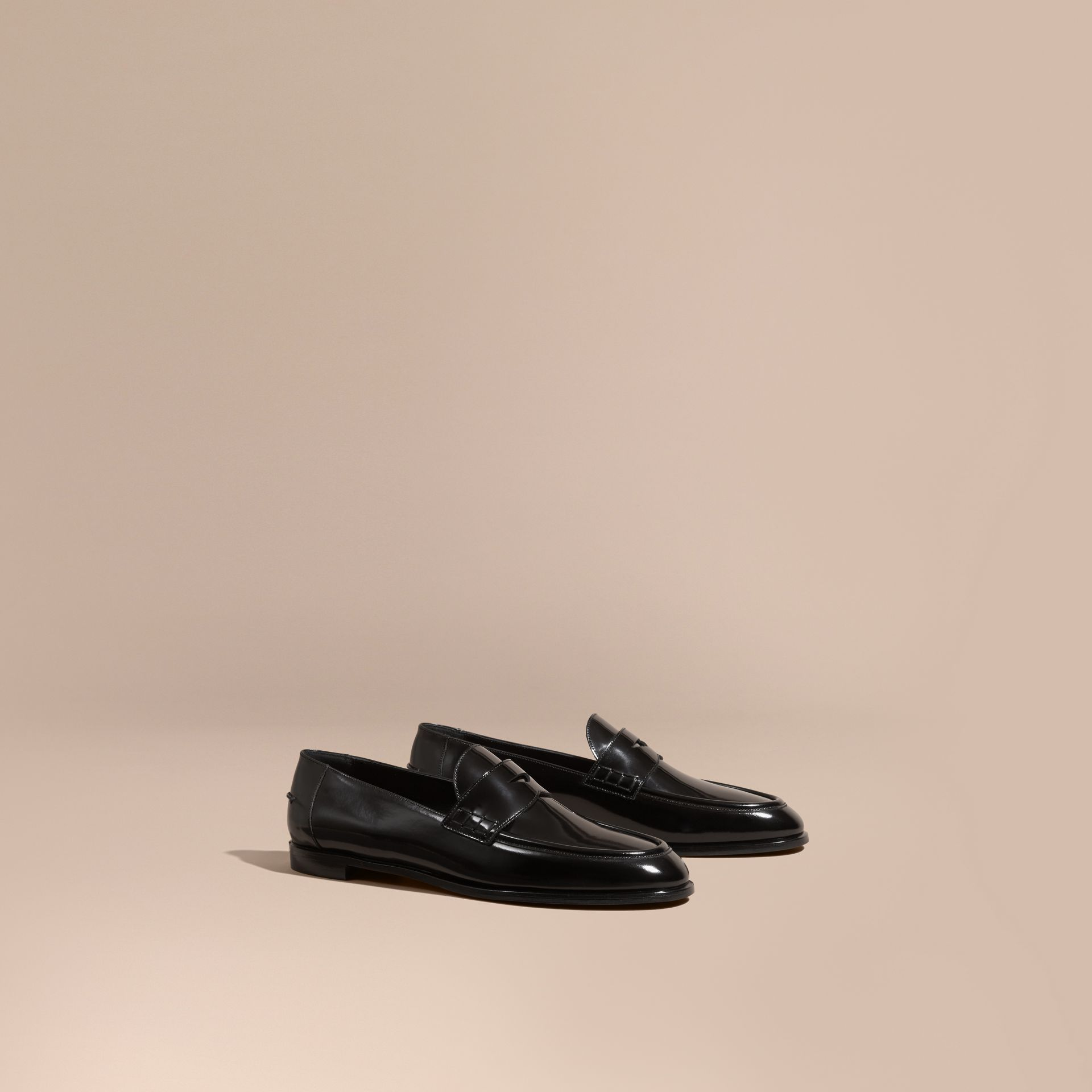 Black Polished Leather Loafers - gallery image 1