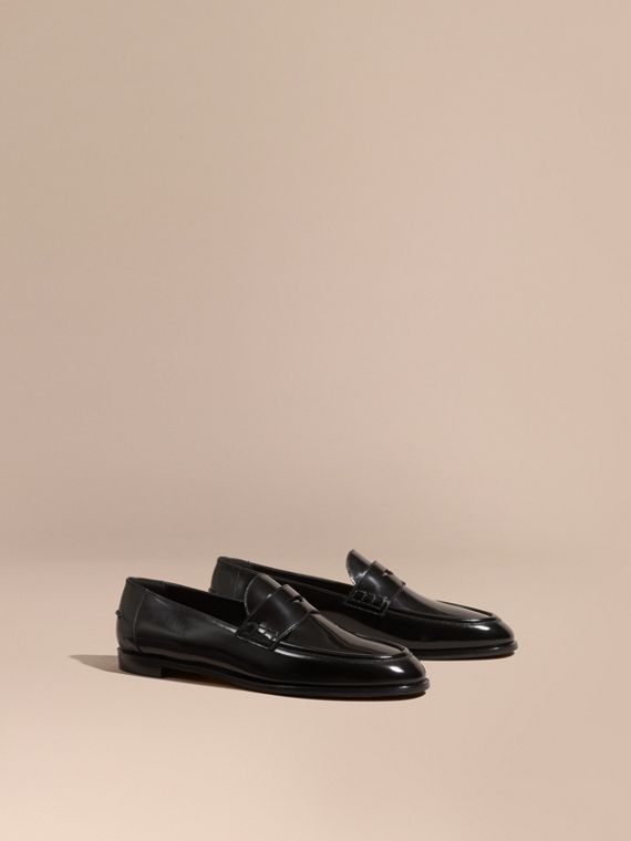 Polished Leather Loafers Black