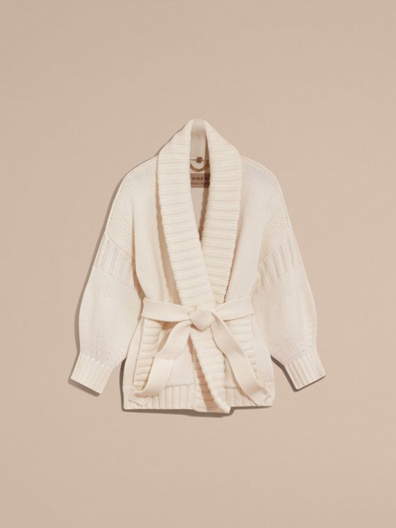 Knitted Wool Cashmere Belted Cardigan Jacket Natural White - cell image 3