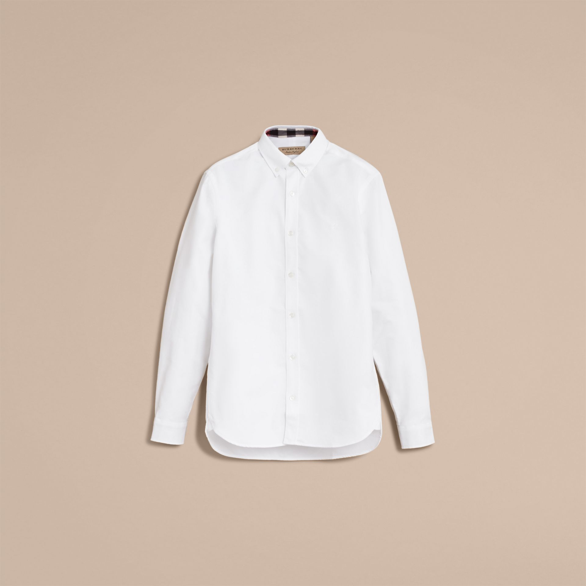 Button-down Collar Cotton Oxford Shirt with Check Detail in White - gallery image 4