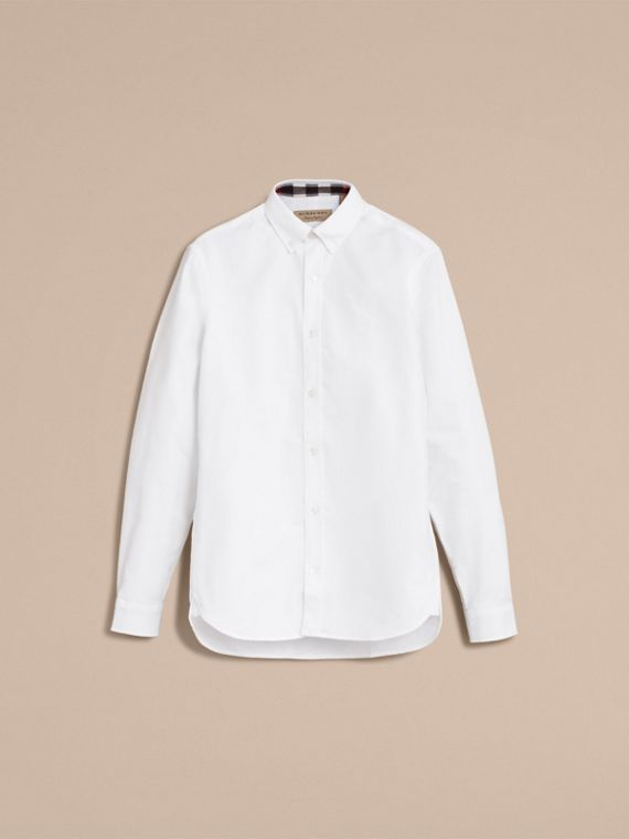 Button-down Collar Cotton Oxford Shirt with Check Detail in White - cell image 3