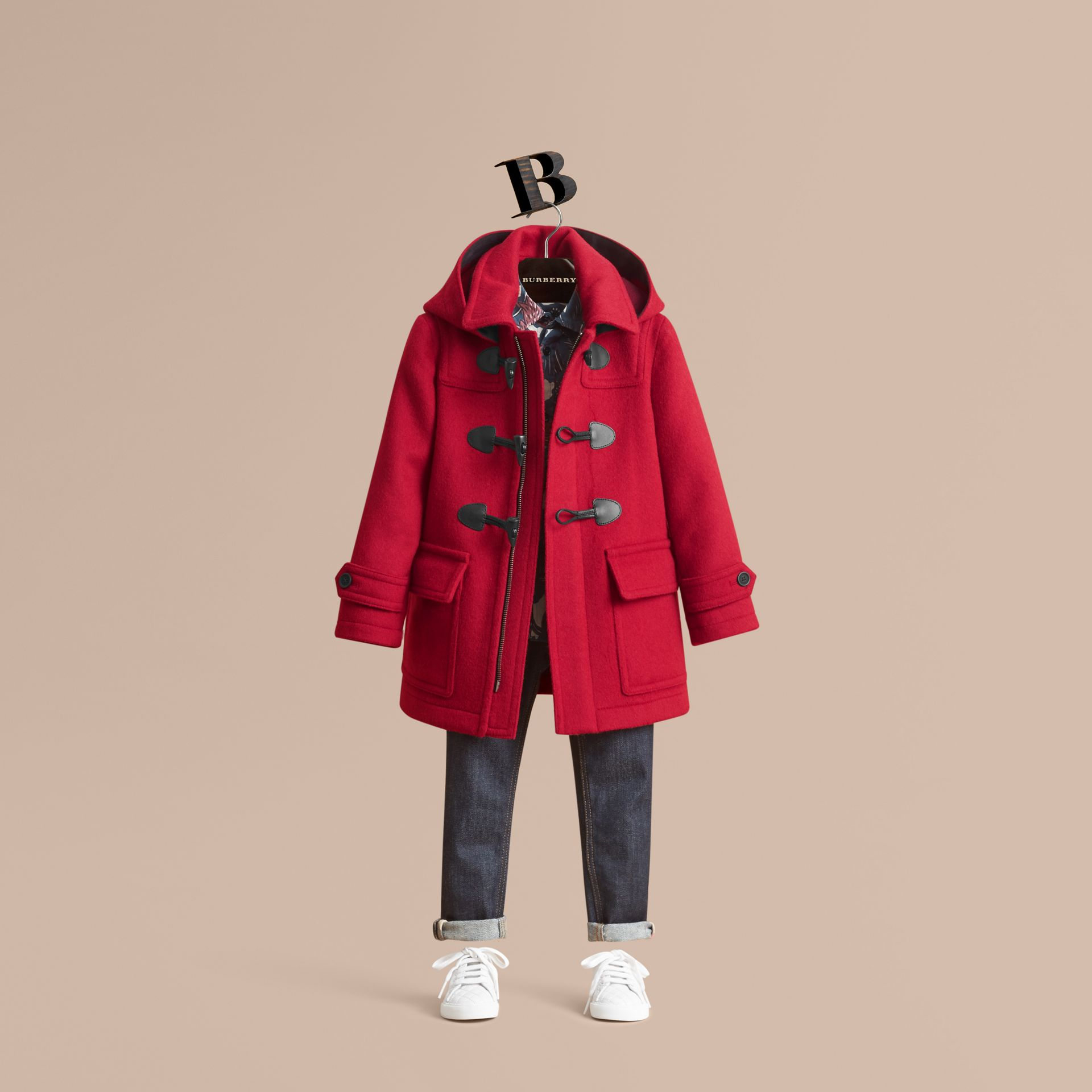 Hooded Wool Duffle Coat in Parade Red - Boy | Burberry - gallery image 1