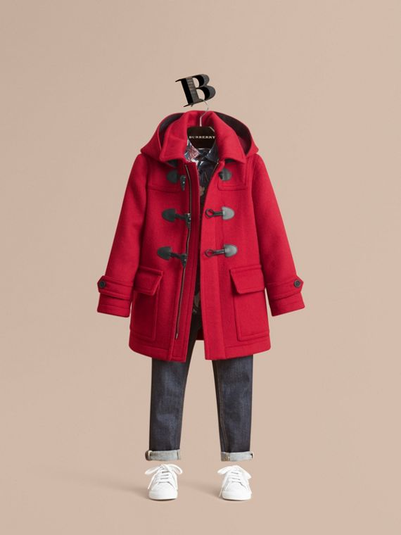 Hooded Wool Duffle Coat in Parade Red - Boy | Burberry Canada