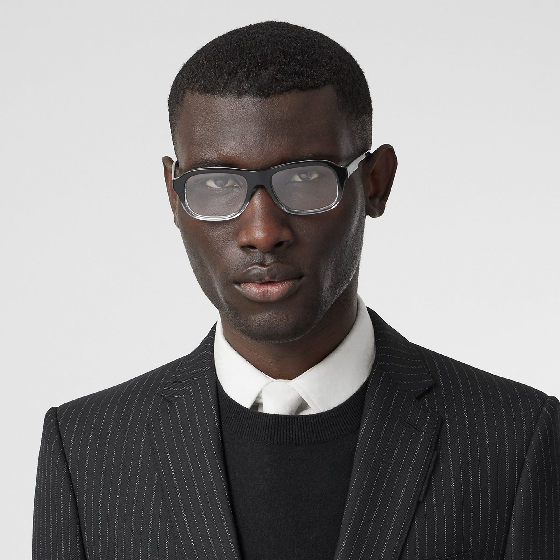 Gradient Detail Rectangular Optical Frames in Black - Men | Burberry - gallery image 2