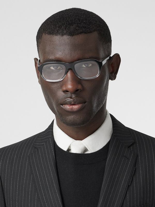 Gradient Detail Rectangular Optical Frames in Black - Men | Burberry - cell image 2