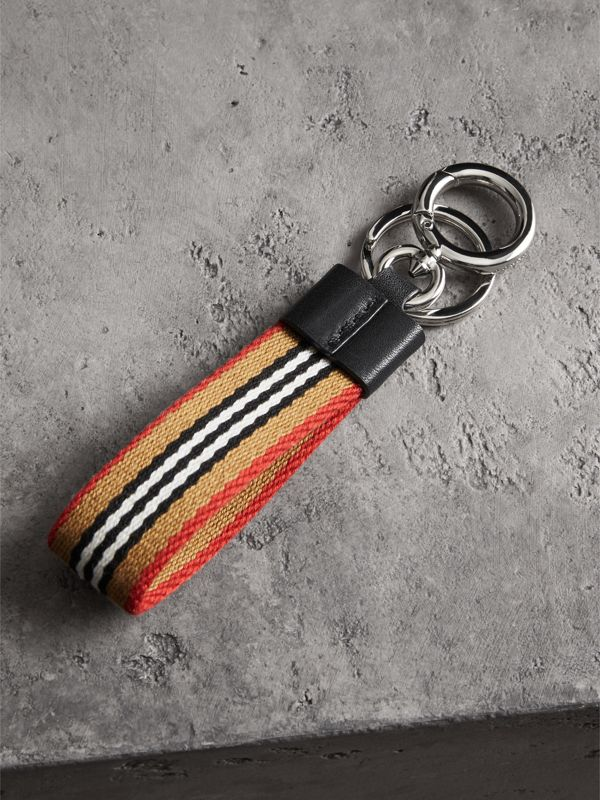 Icon Stripe Key Ring in Black - Men | Burberry - cell image 2