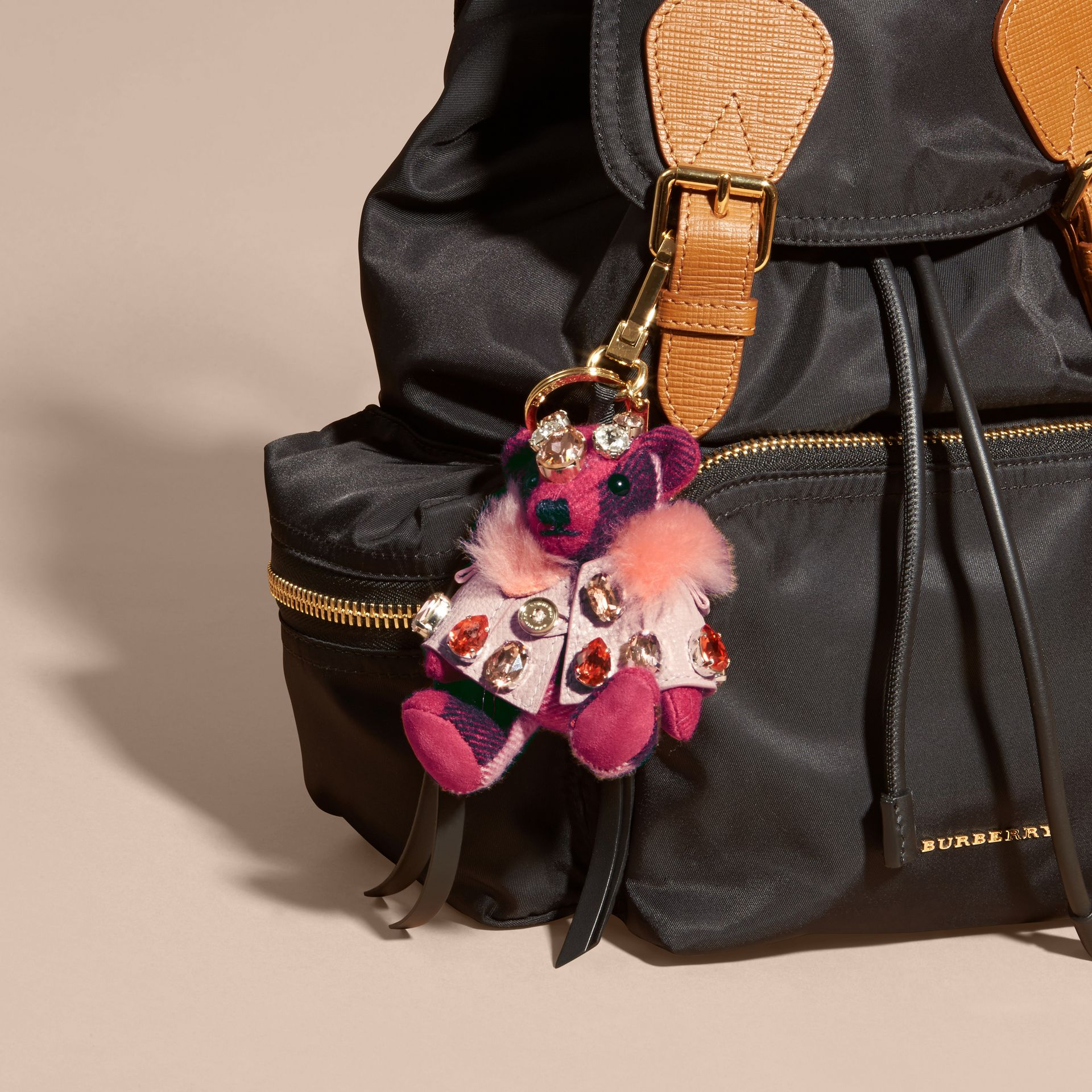 Thomas Bear Charm with Cape and Crystals in Fuchsia Pink - Women | Burberry - gallery image 2