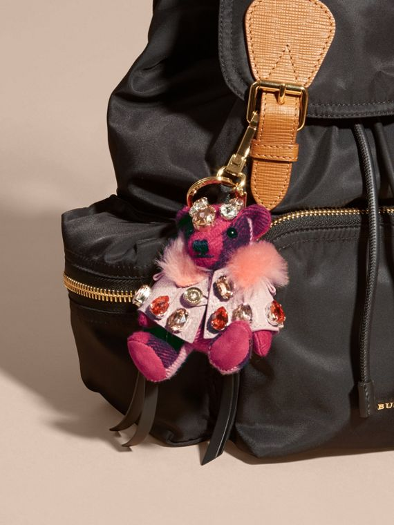 Thomas Bear Charm with Cape and Crystals in Fuchsia Pink - Women | Burberry - cell image 2
