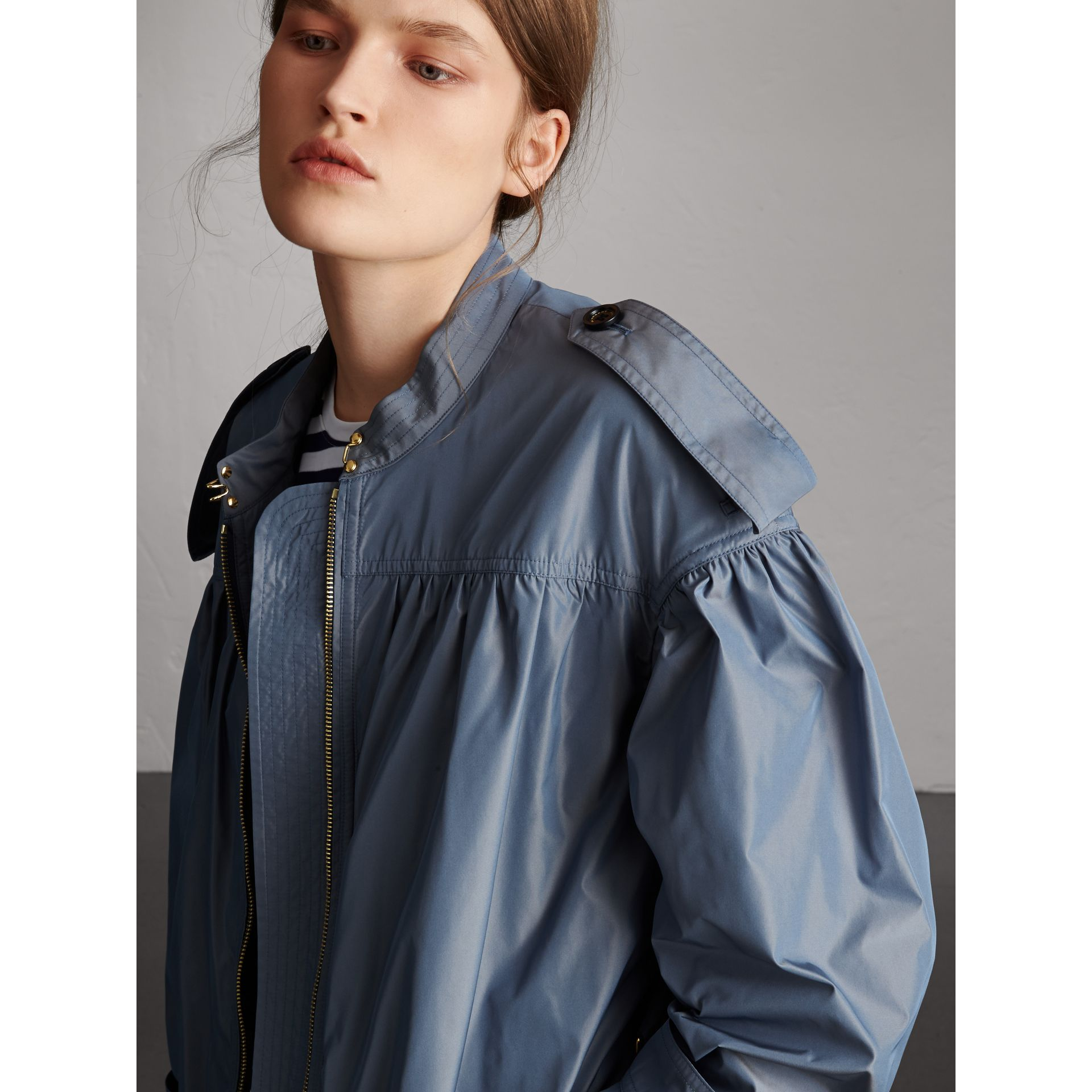 Lightweight Ruched Coat in Stone Blue - Women | Burberry - gallery image 2