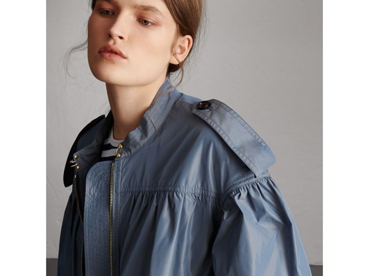 Lightweight Ruched Coat in Stone Blue - Women | Burberry - cell image 1