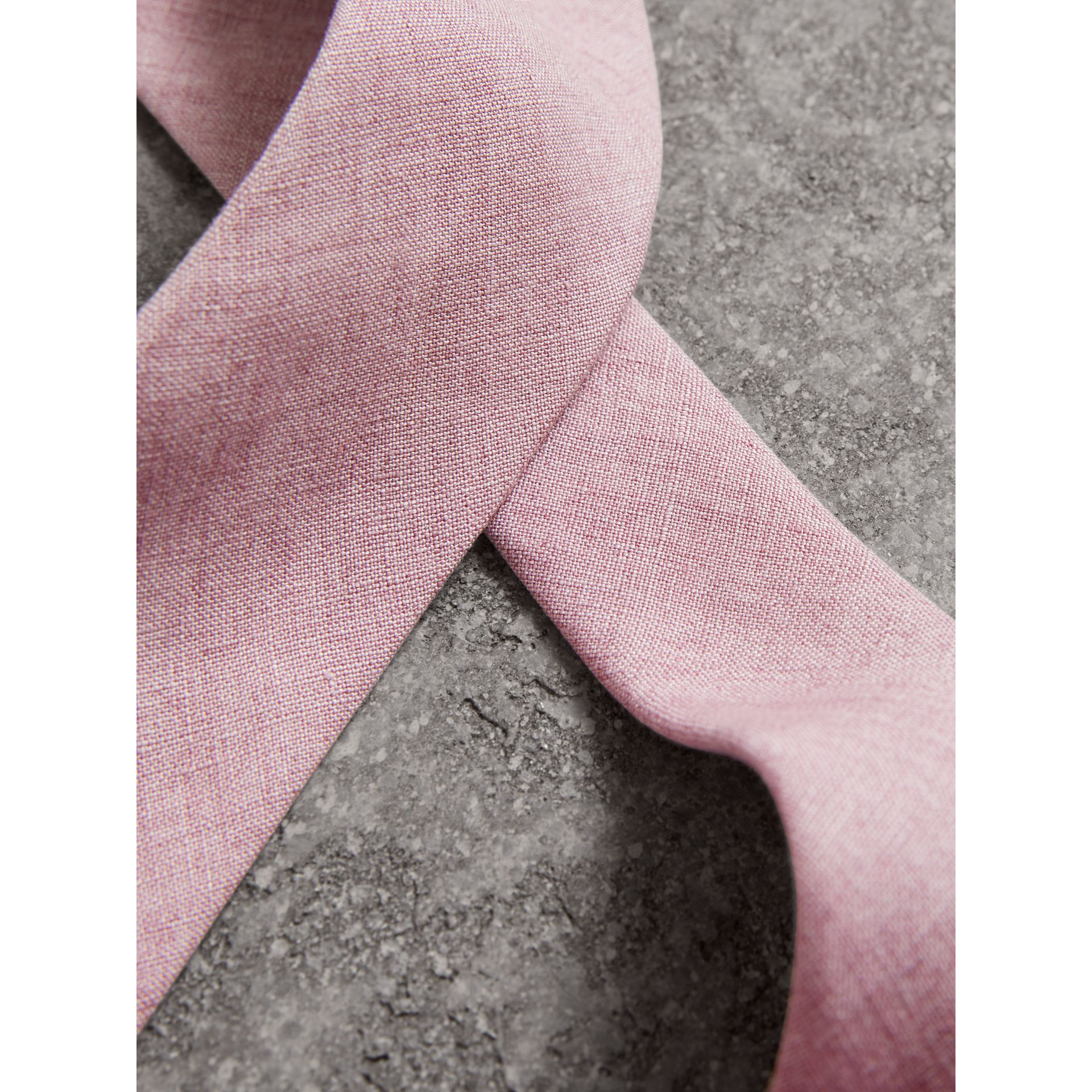 Slim Cut Linen Tie in Pink Heather - Men | Burberry - gallery image 1