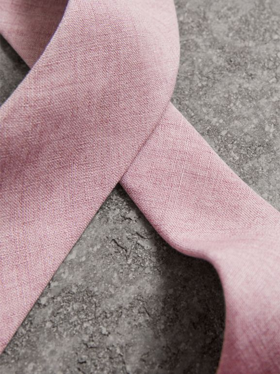 Slim Cut Linen Tie in Pink Heather - Men | Burberry United States - cell image 1