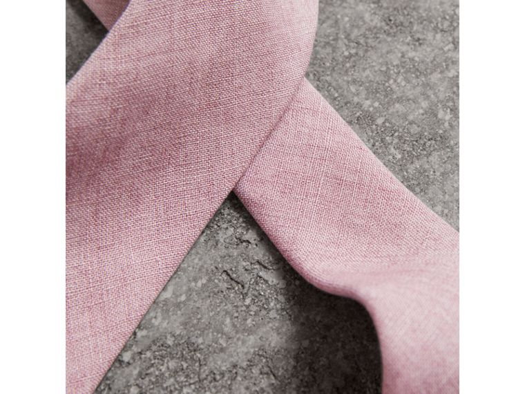 Slim Cut Linen Tie in Pink Heather - Men | Burberry - cell image 1