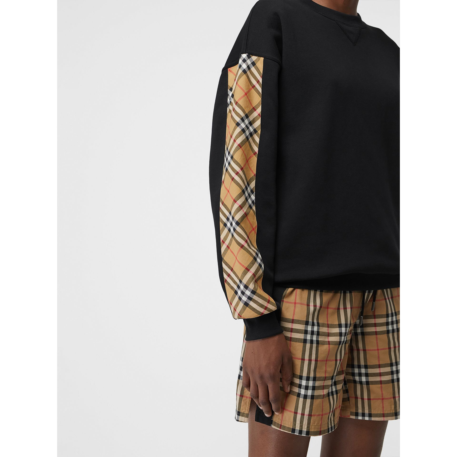 Vintage Check Detail Cotton Blend Sweatshirt in Black - Women | Burberry - gallery image 1