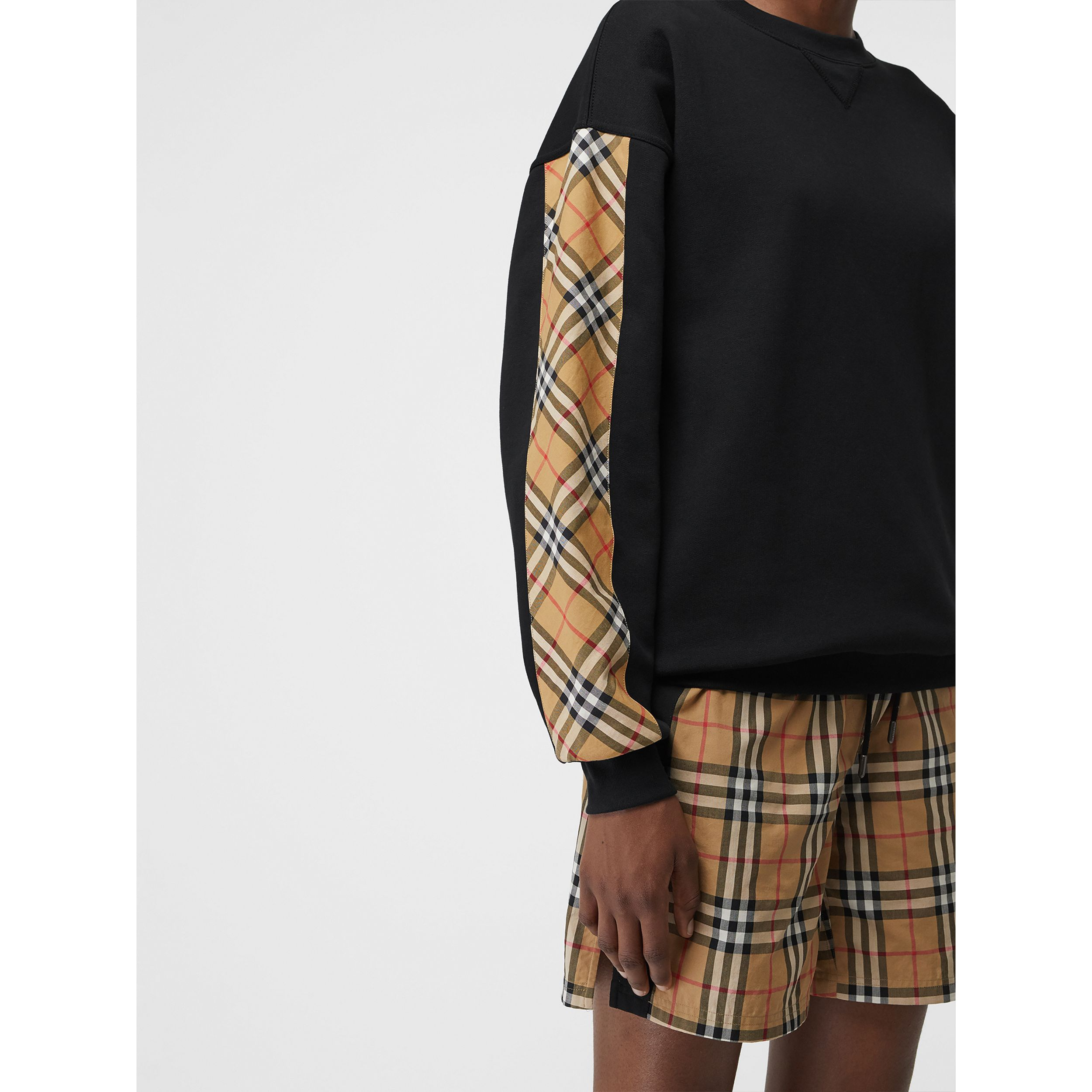Vintage Check Detail Cotton Blend Sweatshirt in Black - Women | Burberry United States - 2