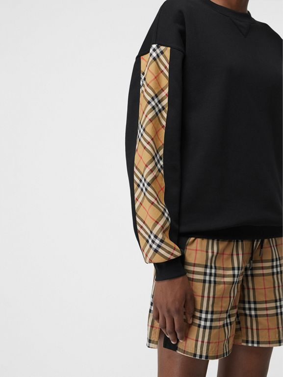 Vintage Check Detail Cotton Blend Sweatshirt in Black - Women | Burberry United Kingdom - cell image 1