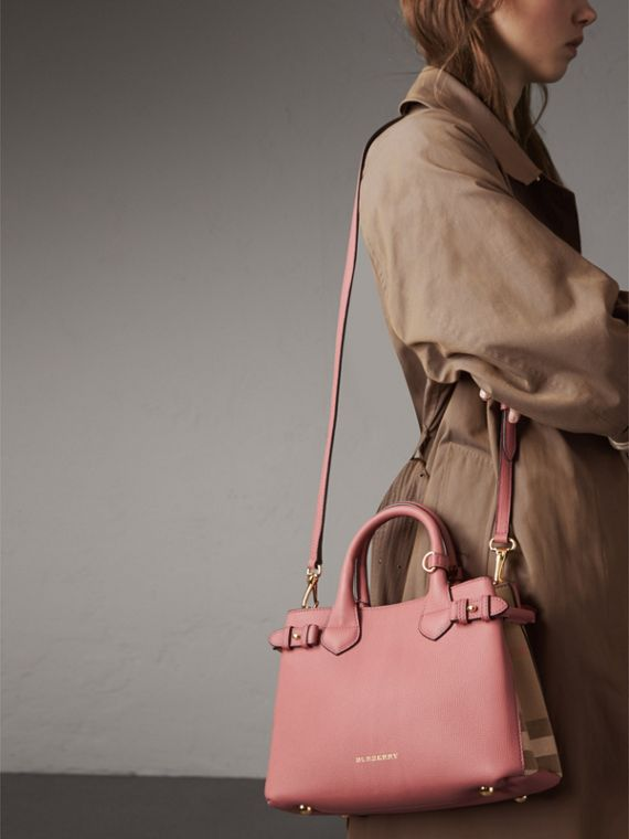 The Small Banner in Leather and House Check in Mauve Pink - Women | Burberry - cell image 3