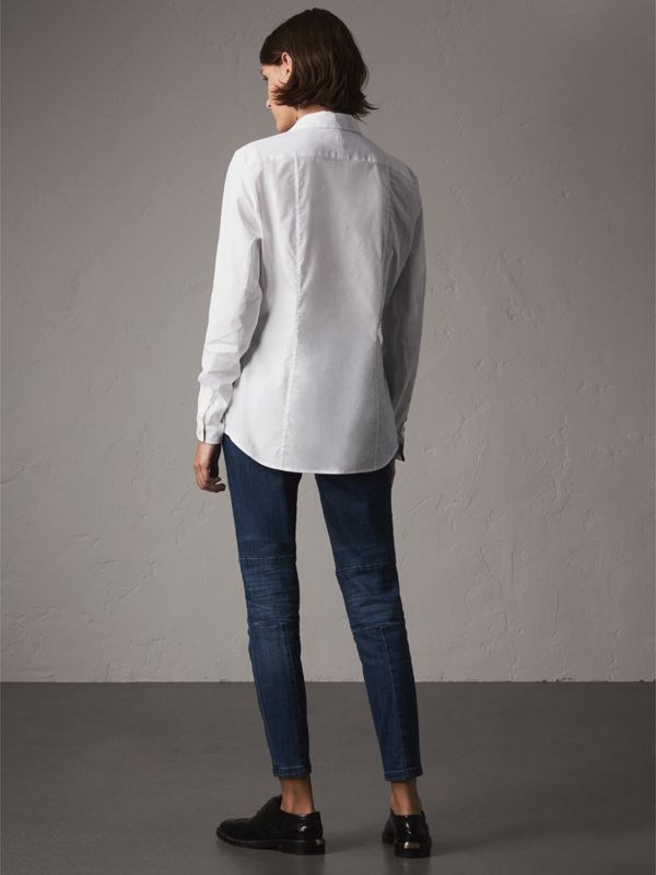 Check Detail Stretch Cotton Shirt in White - Women | Burberry - cell image 2