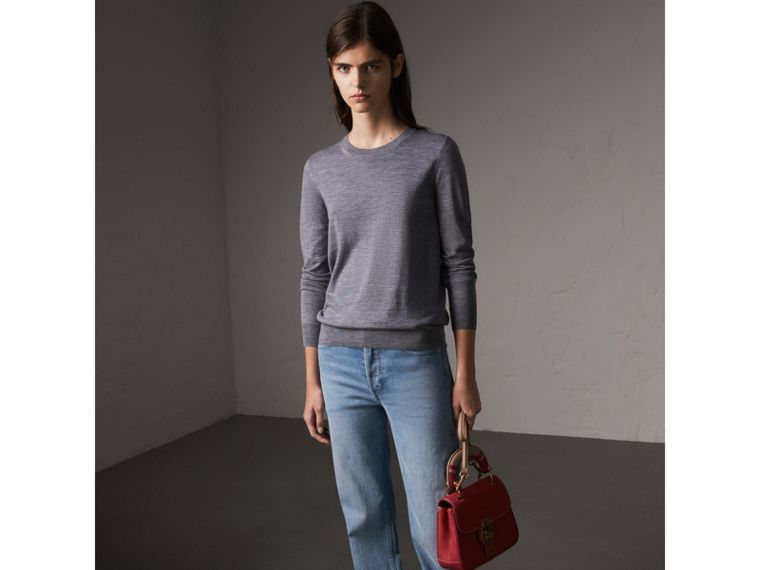 Check Detail Merino Wool Sweater in Mid Grey Melange - Women | Burberry - cell image 4