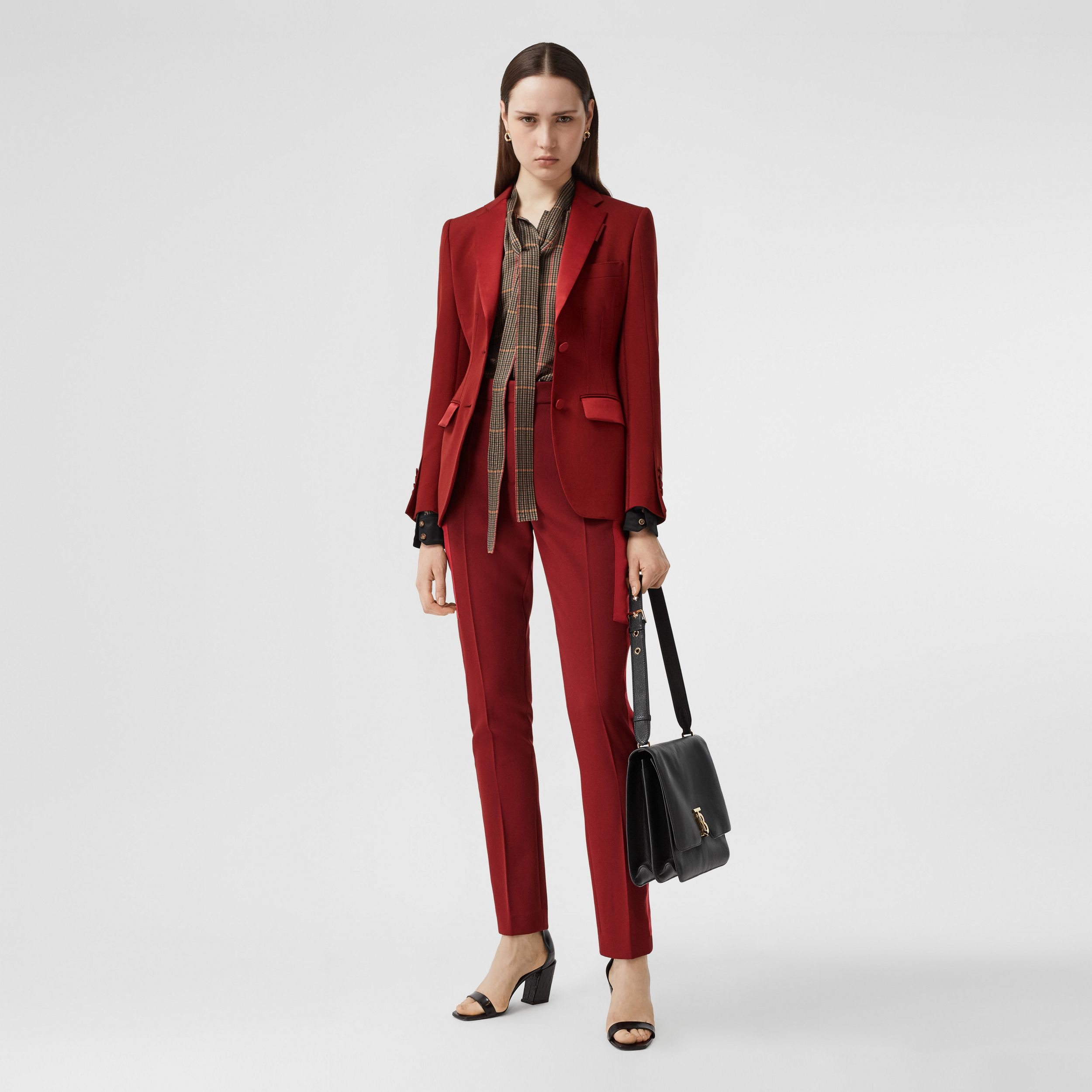 Silk Satin Side Stripe Wool Tailored Trousers in Dark Carmine - Women | Burberry Australia - 1