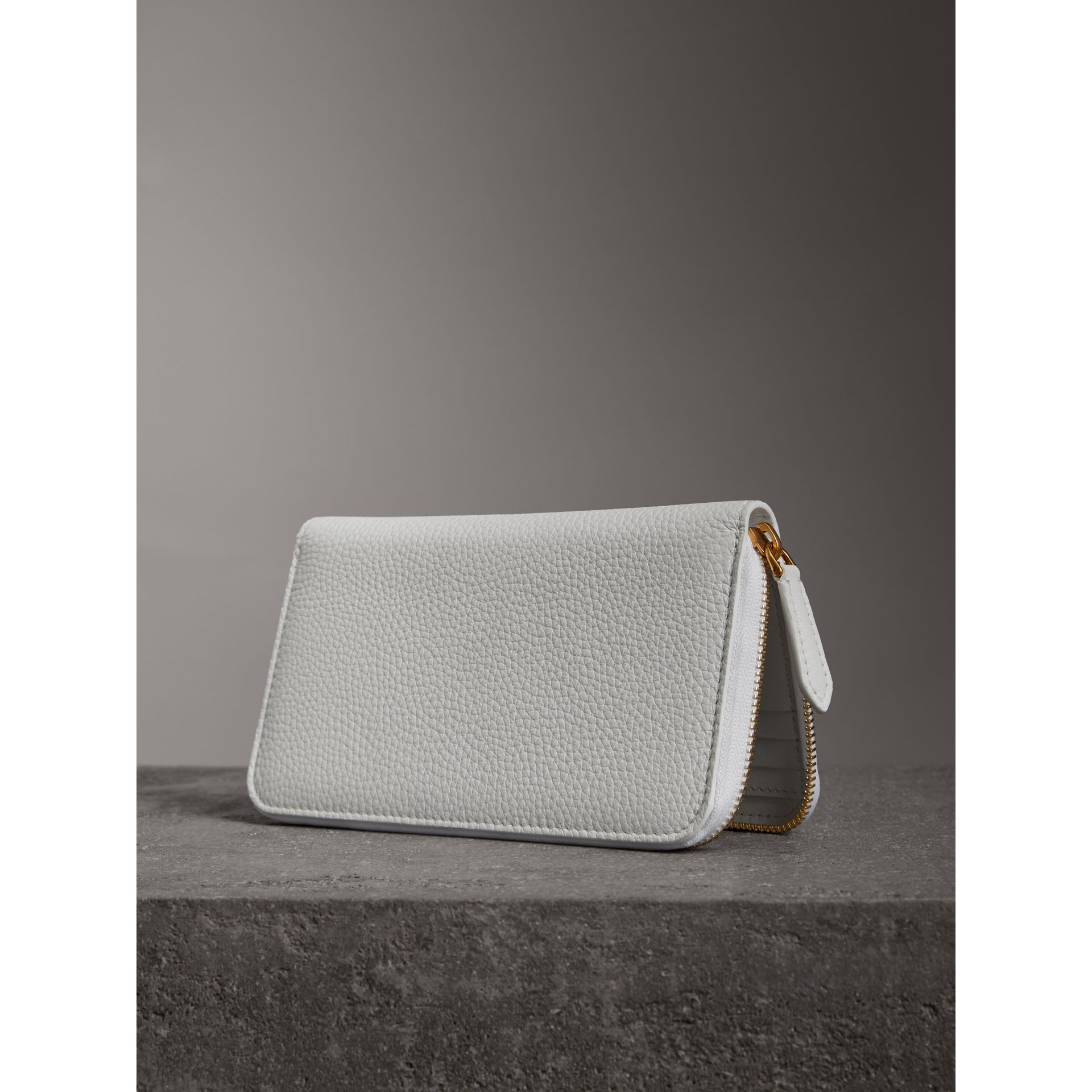 Embossed Leather Ziparound Wallet in Chalk White - Women | Burberry - gallery image 2
