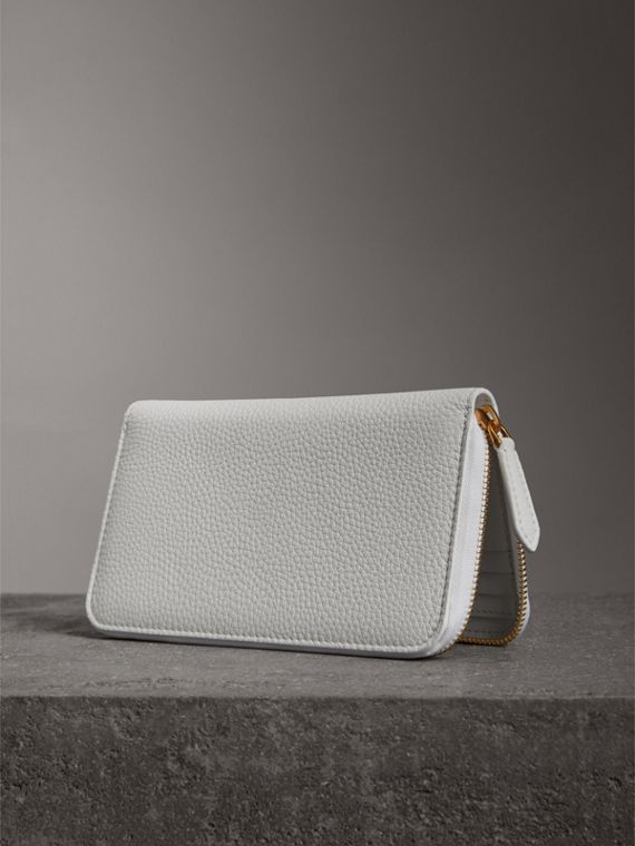 Embossed Leather Ziparound Wallet in Chalk White - Women | Burberry Canada - cell image 2